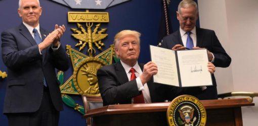 Trump Indicators Orders to Rebuild the Navy, Block Terrorists