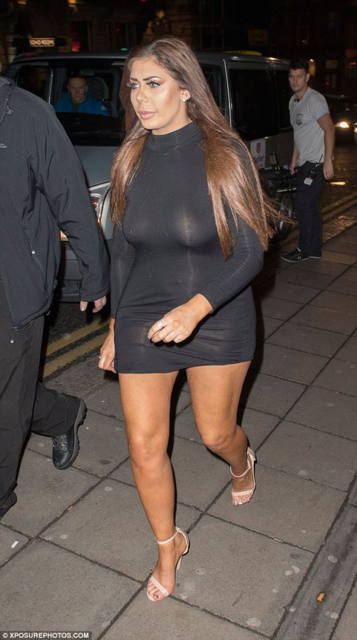 Braless Chloe Ferry bares all by way of racy sheer mini as she joins VERY busty Sophie Kasaei and worse-for-wear Marnie Simpson whereas filming Geordie Shore